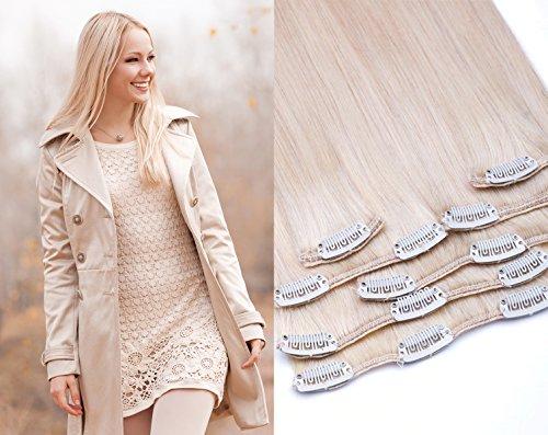 GlamXtensions Clip In Extensions Set für komplette Haarverlängerung 100% Echthaar 7 teilig 70g hochwertigeres Remy Haar 45 cm Clip-In Hair Extension Nr. 60 weißblond blond