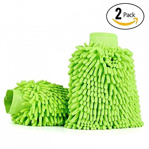 Fireangels Gants de lavage de voiture (2-Pack), Itavah Premium en microfibre chenille Super absorbant Gant de lavage et de cire (Vert)