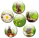 Buddha Magnete für Glasmagnettafel Extra Stark Wellness Motiv 6er Set Gross Rund 50mm Bambus Natur Grün