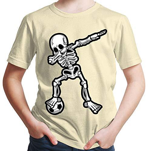 HARIZ  Jungen T-Shirt Dab Skelett mit Fussball Dab Teenager Dance Weihnachten Plus Geschenkkarten Beige 140/9-11 Jahre