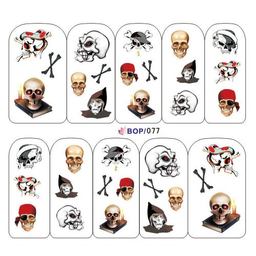 Punk Nail Art Tips Halloween Skull Decal Wrap Water Transfer Stickers DIY Decorations Fashion Gift Geschenk #002 (Halloween Strass Transfers)