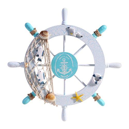 WINOMO steuerrad aus holz wanddeko maritime dekoration schiff lenkrad Nautik-Schiffs-Rad-Wand-Dekor-Strand-hölzernes Boot-Fischen-Netz-Shell (Nautische Dekoration Für Wohnzimmer)