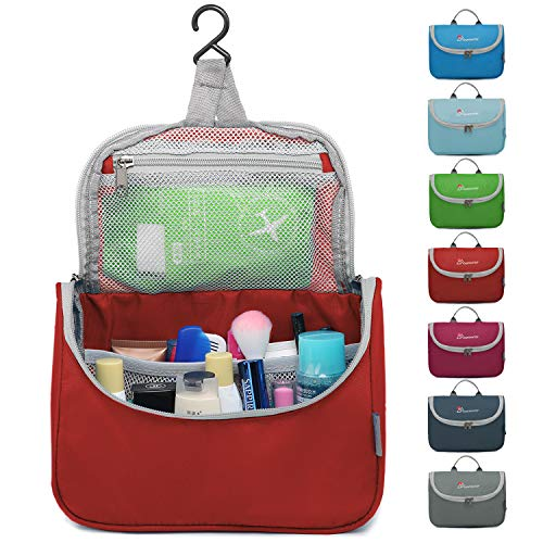 Mountaintop Kulturbeutel Kosmetiktasche Kulturtasche zum Aufhängen Toiletry Bag Waschtasche für Reise Urlaub, 23.5 x 6 x 17 cm (A - Rot) - Im Rot-gewebe Freien