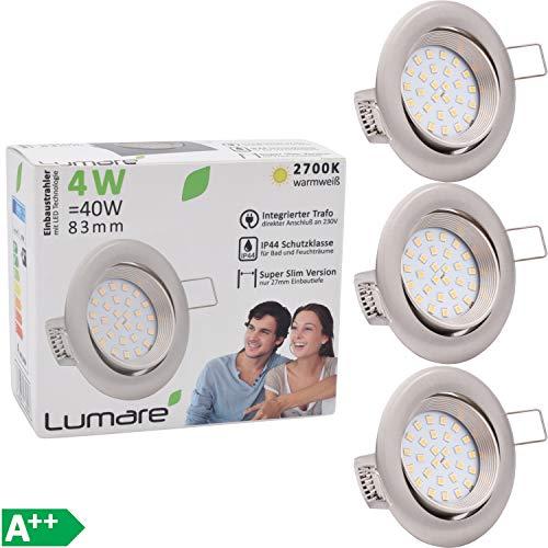 3 Lumare LED Slim Line Einbauspots IP44 silber rund mit nur 27mm Einbautiefe