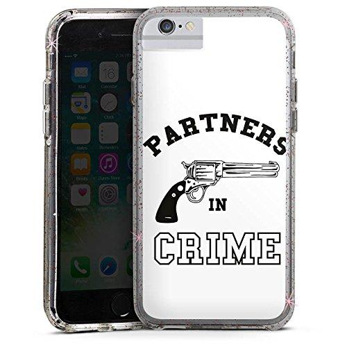 Apple iPhone 6 Bumper Hülle Bumper Case Glitzer Hülle Pistole Crime Freundschaft Bumper Case Glitzer rose gold