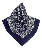 Teichmann Marine-farbenes Nickituch mit wunderschönem Blumen-Muster | Bandana aus 100% Baumwolle | 53 x 53 cm | Halstuch