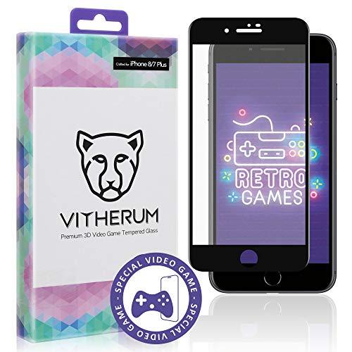 Vitherum Opal - Premium 3D gebogen, gehärtetes Glas, kompatibel mit iPhone 8+/7+ (schwarzer Rahmen) -