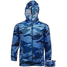 Boys Lightweight RainCoat Camo Jacket Kagool Cagoule - Hooded Cag in a Bag - Kagoul Camouflage