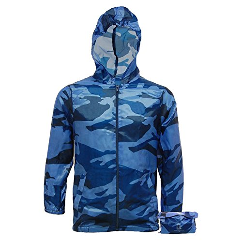 Boys Lightweight RainCoat Camo Jacket Kagool Cagoule - Hooded Cag in a Bag - Kagoul Camouflage (9-10 Years, Blue Camo)