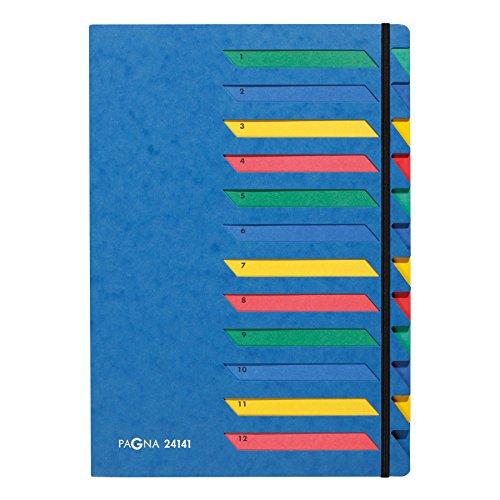 Pagna Deskorganizer Classic (Sammelmappe, 12 Fächer, 1-12) blau