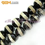 Sweet & Happy Girl'S Store 14mm Round Faceted Ring Colour Gemstone Banded Agate Beads Strand 15 Inch Jewellery Making Beads