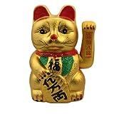 Superfreak® Winkekatze Glückskatze winkende Katze aus Keramik°Maneki Neko, Größe: 26 cm - gold