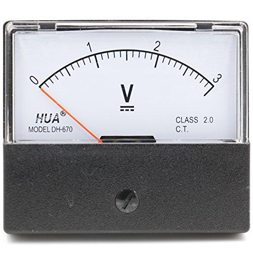 Heschen Rechteckiges Voltmeter analoges Panel Volt Spannungsmesser DH-670 DC 0-3V Klasse 2,0 - Dc Analog Voltmeter-panel