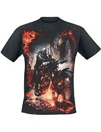 Spiral T-shirt pour homme Motif Steam Punk Rider Noir
