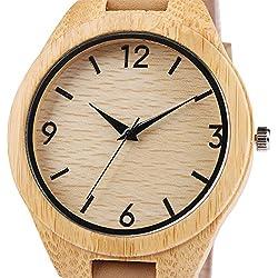 iMing Reloj de madera Natural hecho a mano nuevo grano de madera cuero genuino banda relojes regalos