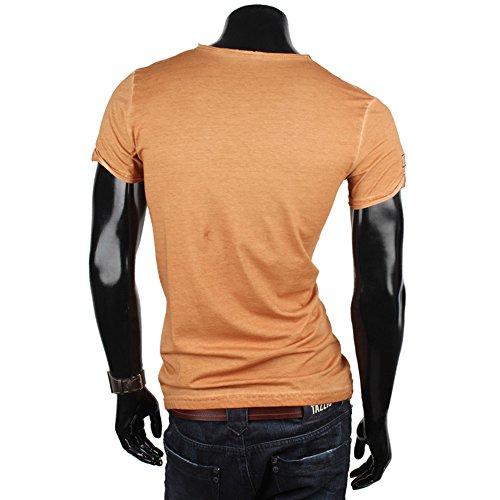 Tazzio Herren T-Shirt Poloshirt Polo Hemd Slim Fit Japan Style Kurzarm Hellbraun