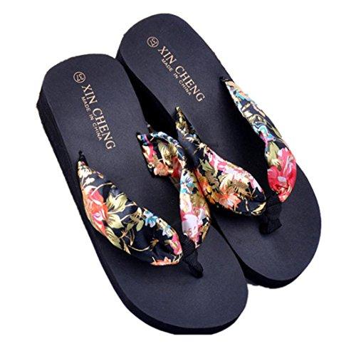 Kword Scarpe Flip-Flops, Sandali da Donna con Tacco Alto Stile Giapponese Nastro Floreale Infradito Boemia Spiaggia Sandali Wedge Piattaforma Infradito Pantofole (EU:36, Nero)