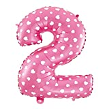 Cotigo–Globo Número 2 de Foil Color Rosa con Corazón para Fiestas de Cumpleaños 40cm de Alto