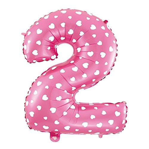 MC-Globo Gigante Número 2 DE Foil Color Rosa con Corazón para Fiestas de Cumpleaños 65cm