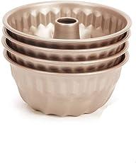 4 Klein-Gugelhupfform,Mini-Gugelhupf Ø 10 cm,runde Backform mit Antihaftbeschichtung(Farbe: Braun), Menge: 4 Stück