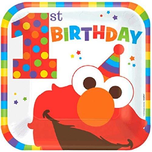 Elmo Turns One quadratische Teller, 22,9 cm, Geburtstag, Standard, Mehrfarbig ()