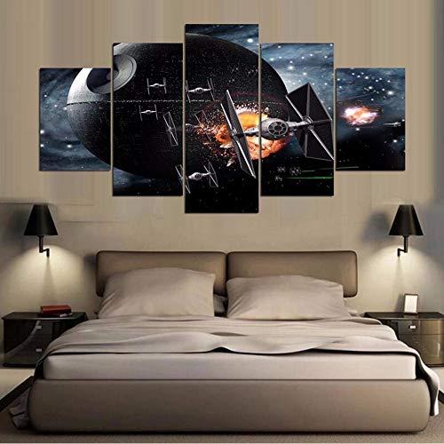 (Xzfddn Kunst Malerei Modulare Hd Leinwand Poster 5 Panel Film Star Wars Szenario Home Decor Wohnzimmer Wand Gedruckt Bilder 30X40/60/80Cm,No Frame)