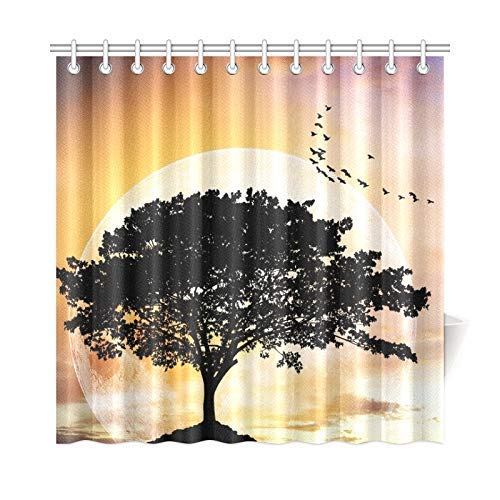 Presock Home Decor Bath Curtain Silhouettes Lone Big Tree Beautiful Branch Polyester Fabric Waterproof Duschvorhang for Bathroom, 72 X 72 Inch Duschvorhangs Hooks Included (Duschvorhang Tmnt)
