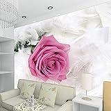 XXPFF Romantische Rosa Rose Blume Foto Wandbild Maßgeschneiderte 3D Wallpaper Für Hochzeit Wohnzimmer Sofa Hintergrund Wandverkleidung , 250Cm (B) X 160Cm (H)