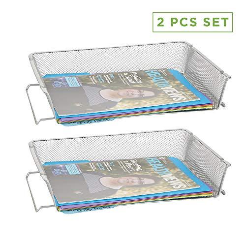 Mind Reader RSTACK2-SIL 2 Piece, Side Load, Stackable Letter Legal, Tray Mesh Desk, Document Holder, Magazine Storage, Desktop File Organizer, Silver (Letter Tray Legal)