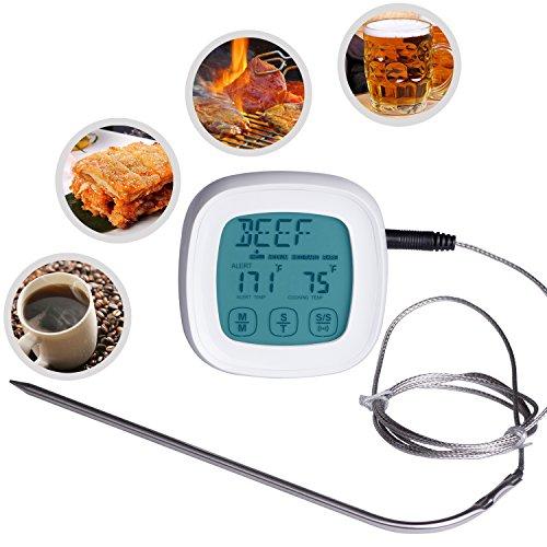 ZeWoo Küchenthermometer Ofenthermometer Digital LCD Berührungsempfindlicher Bildschirm Fleisch Haushaltsthermometer Lebensmittel Koch Thermometer mit 2 Sonde
