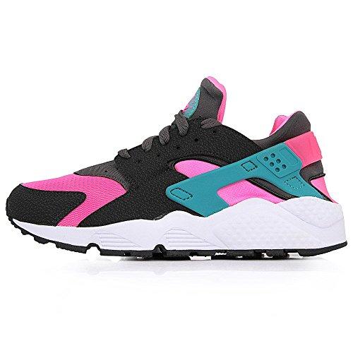 Nike Air Huarache, Baskets Basses Homme, Gris, 41 EU Rosa / Negro / Verde (Hyper Pink / Dsty Cactus-Mdm Ash)