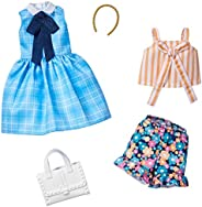 Barbie Fashions 2-Pack Clothing Set, 2 Outfits Doll Include Blue Plaid Dress, a Striped Tie Top, Floral Shorts