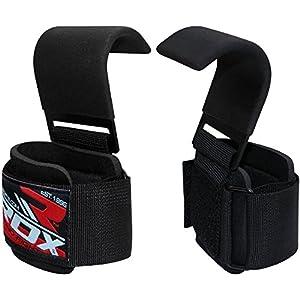 RDX Zughilfen Haken Bodybuilding Handgelenkbandage Krafttraining Zughilfe Fitness Gewichtheben Klimmzughaken Gewichtheberhaken Straps Power Lifting Hooks Latzughilfen (MEHRWEG)