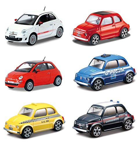 Burago- Fiat 500 Street Fire, Scala 1:43, Modelli e Colori Assortiti, 1 Unit, Multicolore, 3.MD00710