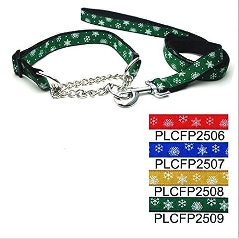 Rifornimenti dell'animale domestico cane corda guinzaglio cane trazione corda 2,5 cm fiocco pizzo controllo catena pull con archetto da collo , green - Canine Controllo Del Peso
