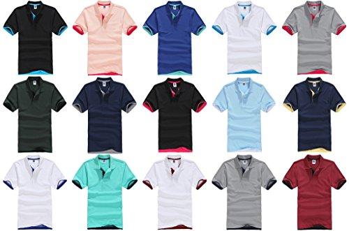 Smile YKK Herren Männer Basis Sommer Kurzes Aermel Poloshirt T-Shirt Hoodie T-Shirt Hemd Schwarzblau B