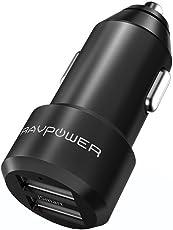 Auto Ladegerät RAVPower 2-Port 24W 5V/4.8A Mini Auto Ladeadapter mit Aluminium-Legierung Gehäuse iSmart Technologie für iPhone X 8 7 6 Plus, iPad Pro Air Mini, Galaxy S9 S8 Plus, LG, Huawei, HTC usw.