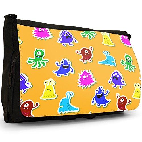 """"""", misura grande, colore: nero Monsters-Borsa di tela a tracolla, per scuola, Borsa per computer portatile Nero (Fun Loving Cheering Monsters)"""