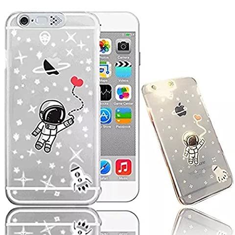 For iPhone 6 6S 4.7 inch Case, Vandot Colorful Printing Perfect Fit Pattern Soft TPU Silicone Bumper+Hard PC Back Cover Matte Transparent Exclusive Design Premium Protective Ultra Slim Case- Embossing Landscape Cute Space Astronaut Love