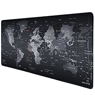 JIALONG Gaming Mouse Mat Desk Pad, Large Size 900x400mm, Non-slip Rubber Base with Stitched Edges for Computer, PC and Laptop - World Map