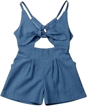 Hongyuangl Baby M/ädchen Strampler Normallack Overall Outfits Neugeborenen Urlaub Strand Sommer /Ärmellos Kleidung