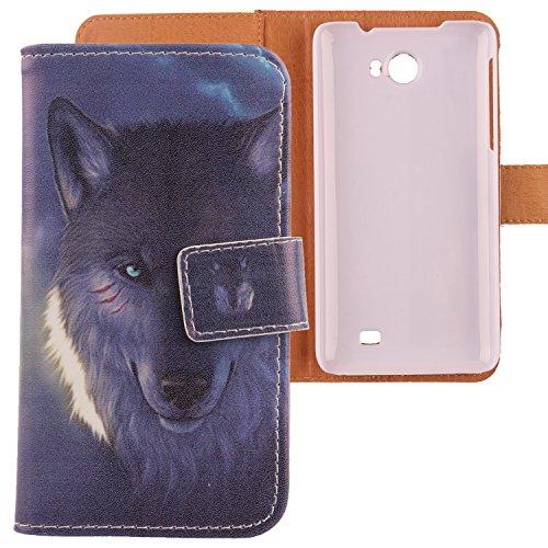 Lankashi PU Flip Leder Tasche Hülle Case Cover Schutz Handy Etui Skin Für Kazam Trooper 2 5.0 Wolf Design