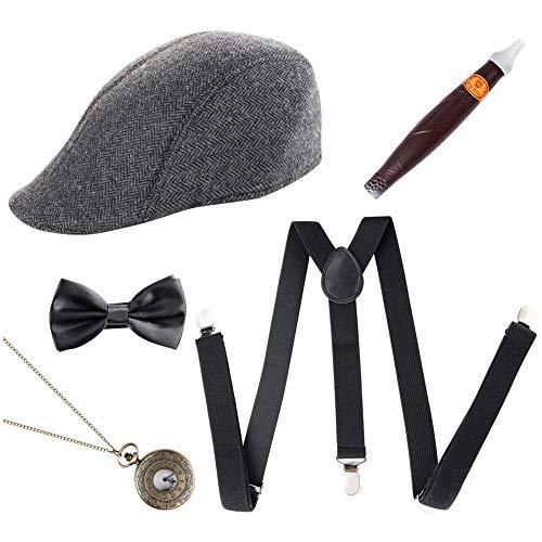 KSTN Herren Retro-Kostüm-Set, Taschenuhren, Gangster-Hut, 1920er-Jahre, 5-teilig, Schwarz, Free - Accessoires Herren 1920er Jahre