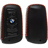 PhoneNatic Echtleder stitched Schlüssel Hülle für die BMW 3er E90 - 5er F10 - 7er F01 4-Tasten Fernbedienung in schwarz Funkschlüssel 4-Key