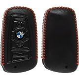 PhoneNatic Echtleder Stitched Schlüssel Hülle für die BMW 3er E90, 5er F10 und 7er F01 4-Tasten Fernbedienung in schwarz Funkschlüssel 4-Key