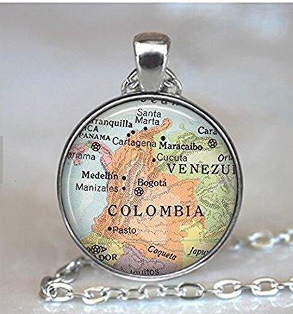 Kolumbien Karte Halskette, Kolumbien Karte Halskette, Kolumbien Halskette, Kolumbien Halskette Karte Jewelry Travel Map Kolumbien Halskette