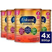 Enfamil Complete 3 - Leche infantil de continuación para lactantes niños de 1 a 3 años - Pack mensual de 4 latas x 800 gr