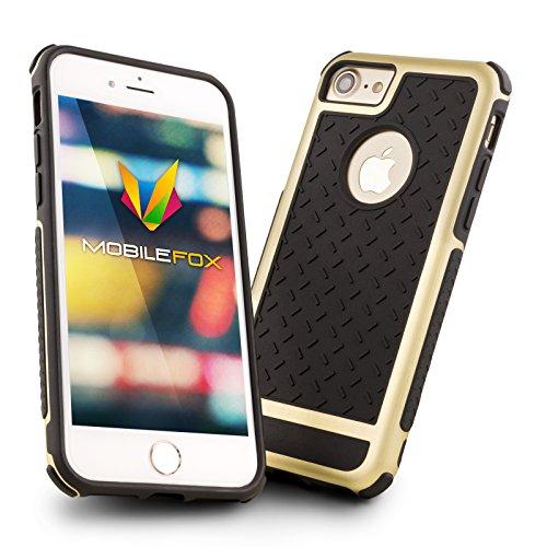Mobilefox Simon Panzer Schutzhülle mit farbigem Bumper, Safe-Grip Handy Case für Apple iPhone 6/6S Schwarz/Grau - Soft Back Cover Hülle Schwarz/Gold