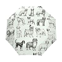 Umbrella Customize 3 Folds Dog Pattern Windproof Auto Open Close Lightweight Anti-UV