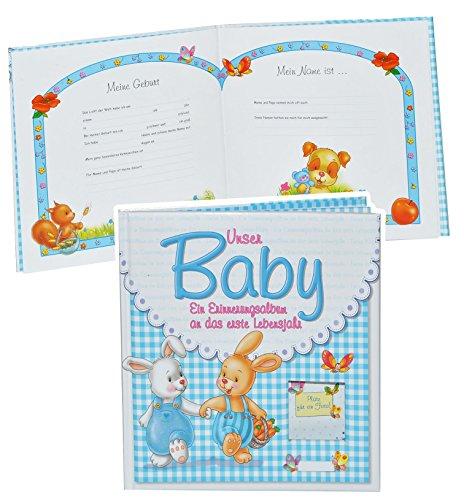 Erinnerungsalbum Baby - an das erste Lebensjahr - für Jungen - erste Fotos - Gebunden - Babyalbum Kinderalbum - blau Babys Neugeborene zur Geburt / Baby-Album